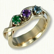 3 stone in-line mothers ring in two tone gold