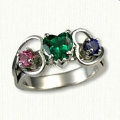 Platinum Twin Hearts Mother's Ring