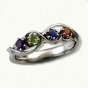 Mother Rings with 3 heart shaped stones in 14KY