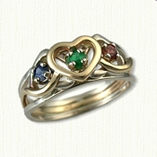 Custom Mothers Ring with Two White Strands and One Yellow Strand (Sapphire - Emerald - Garnet) 3mm Round gemstones