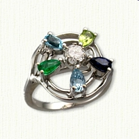 Custom Flower Design Mothers Ring set with diamond, aqua, genuine emerald, blue topaz, peridot and blue sapphire