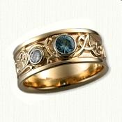 Custom Band with Names & A Bezel Set Diamond & Blue Zircon