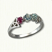 14kt White Gold Small Marishelle Mothers Ring set with a Pink Tourmaline, Aqua & Blue Zircon