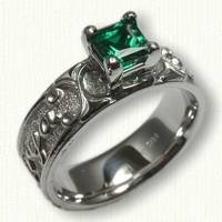 Custom Personalized Mothers Ring with a 5mm Princess Cut Chatham Emerald