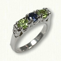 14kt White Celtic 3 Stone Mothers Ring set with a 4mm Peridot, Chatham Sapphire & Peridot