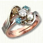 Custom Two Tone Freeform Mothers Ring