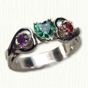 14KW Twin Hearts Mother's Ring