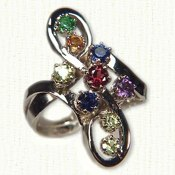9 stone S loop mothers ring