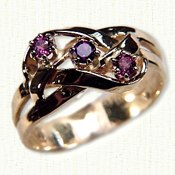 14KY 3 strand hand woven mothers ring with garnets and amethyst