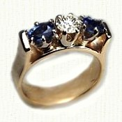 14KY bridged style mothers ring with sappahires and a diamond